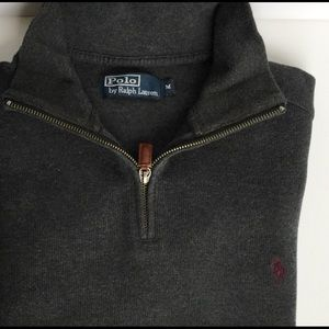 Ralph Lauren POLO 1/4 zip Mens MED gray sweater
